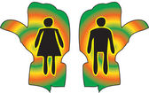 Woman and Man Figure on Toilet Guided Handy Sign — Stockvektor