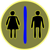 Woman and Man Figure on Toilet Guided Colorful Circle Sign Vecto — Stockvektor