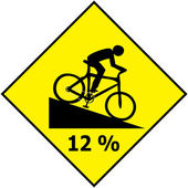 Bicycle Traffic Sign Show Downhill Slope Ratio Vector — Stock Vector