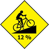 Bicycle Traffic Sign Show Uphill Slope Ratio Vector — Stock Vector