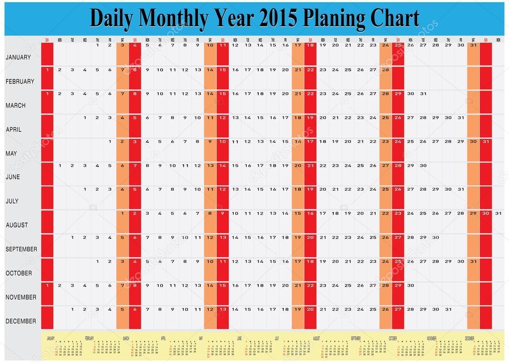 Diário calendário 2015 anual mensal planejamento gráfico — Vetor ...