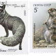 Old stamp with marmot and black fox — Stock Photo