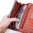 Orange wallet with money — Stock Photo