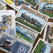 Collection of  transportation stamps from different countries - Stock Photo