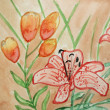 Floral watercolor illustration of flower in red color - Stock Photo