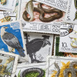 Collection of vintage stamps. Background - Foto Stock