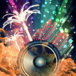 Background for Disco flyers with black Speaker - Stock Photo