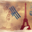 Vector illustration with eiffel tower drawing - Foto Stock