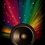 Fondo de música arco iris colorido para discoteca volantes — Foto de Stock
