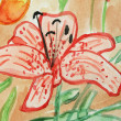 Stock Photo: Floral watercolor illustration of flower in red color