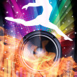 Background for Disco flyers with black Speaker — Stock Photo
