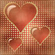 Stock Photo: Three of bright red hearts
