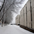 Winter street with lots of snow — Stock Photo