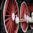 Red locomotive wheels — Stock Photo