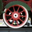 Red locomotive wheel - Stock Photo