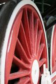 Red locomotive wheel — Stock Photo