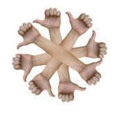 Eight hand thumbs up — Stock Photo