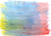 Abstract watercolor background with yellow, blue, red layers — Stock Photo