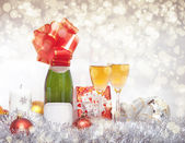 New Year composition with champagne — Stock Photo