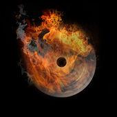 Vinyl in fire, very hot — Stock Photo