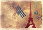 Vector illustration with eiffel tower drawing — Stock Photo