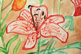 Floral watercolor illustration of flower in red color — Stock Photo