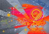 Tle futurystyczny ilustracja kształt okrągły, kwadratowy — Zdjęcie stockowe
