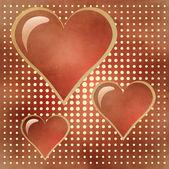 Tres de corazones rojos brillantes — Foto de Stock