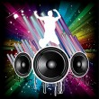 Stock Vector: Music Background for Disco flyers with black Speaker