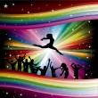 Vector illustration with dancers on rainbow background — Stock Vector #18091333