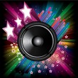 Stock Vector: Background for Disco flyers with black Speaker