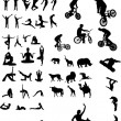 Collection of different Silhouettes black and white vector - Stock Vector