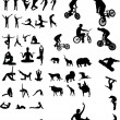 Collection of different Silhouettes black and white vector — Stock Vector