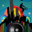 Guy with bmx on city landscape with sound speaker — Stock Vector
