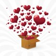 Valentine's day. box with fly hearts — Stock Vector