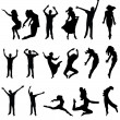 Dance many silhouette. vector illustration — Stock Vector
