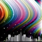 City with rainbow — Stock Vector #18093163