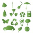 Collection of green eco-icons — Vector de stock