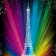 Vector card with eiffel tower on a rainbow background — Stock Vector