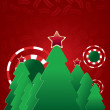 Royalty-Free Stock Vector Image: Christmas tree on red  background