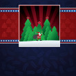 Royalty-Free Stock Векторное изображение: Christmas card with santa claus in forest