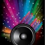 Fondo de música arco iris colorido para discoteca volantes — Vector de stock