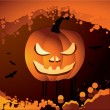 Halloween vector illustration scene — Vector de stock