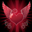 Royalty-Free Stock Vector Image: Heart with wings, red illustration