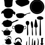 Kitchen utensil silhouette — Stock Vector