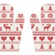 Stock Vector: Knitted christmas mittens with pattern