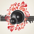 Illustration for a musical theme with speakers — Stock Vector
