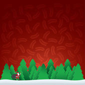 Christmas card with Santa Claus in forest — Stock Vector