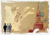 Vector post card design with kremlin — Stock Vector