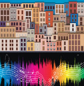 Old city and musical notes. vector illustration — Stock Vector